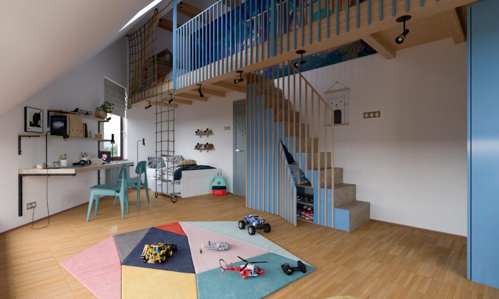 Uređenje dečije sobe - stepenice koje u sebi kriju orman