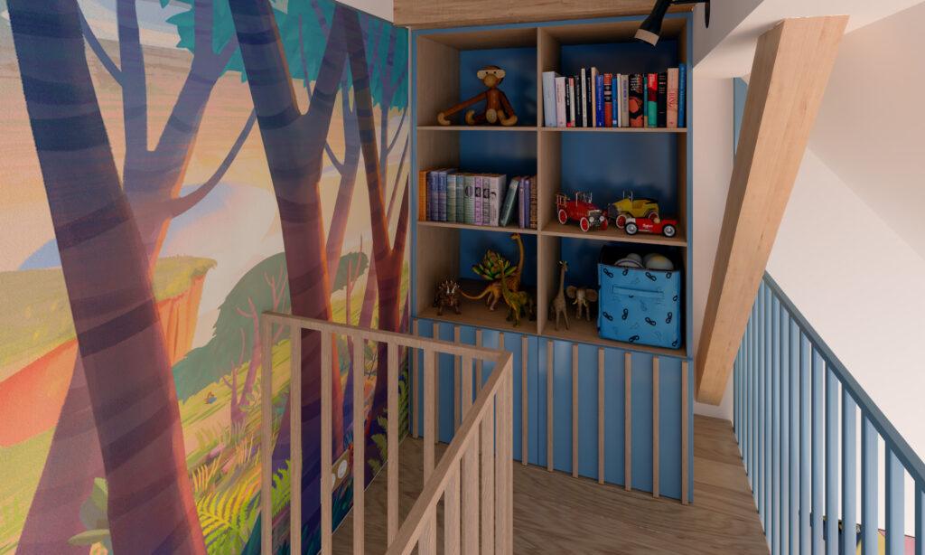 Police za knjige i igračke u dečijoj sobi