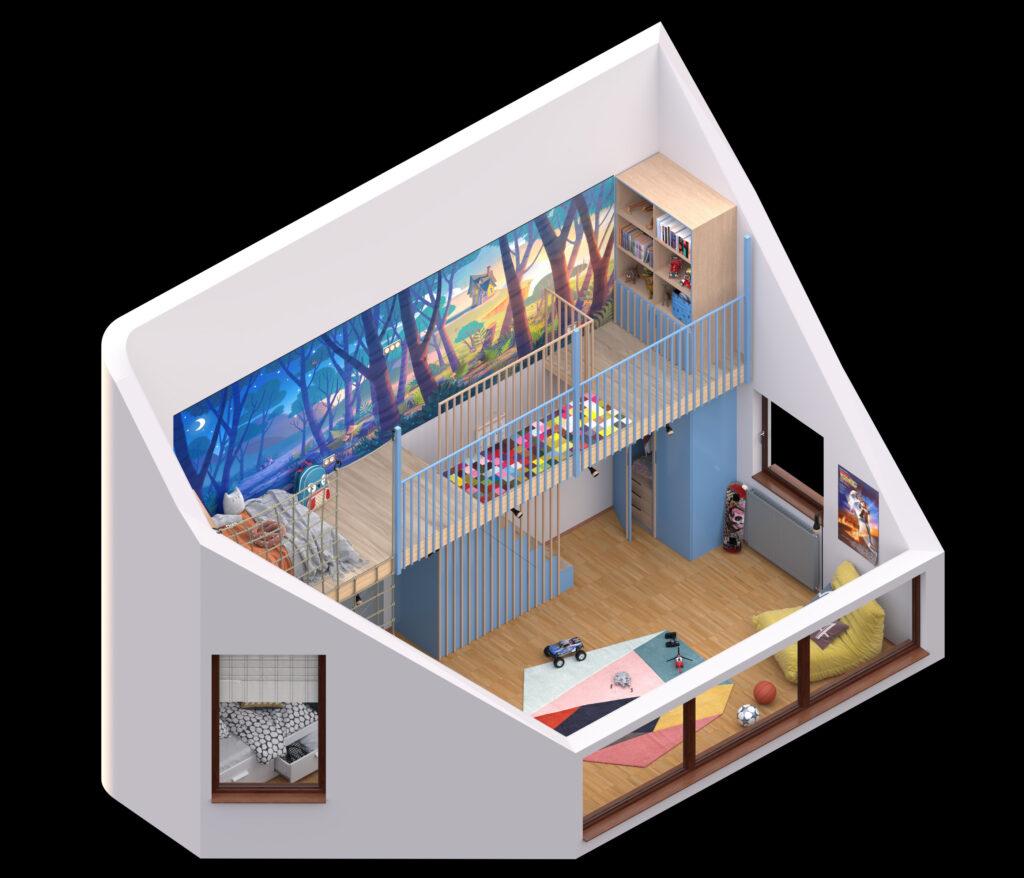 Predlog za uređenje dečije sobe u potkrovlju